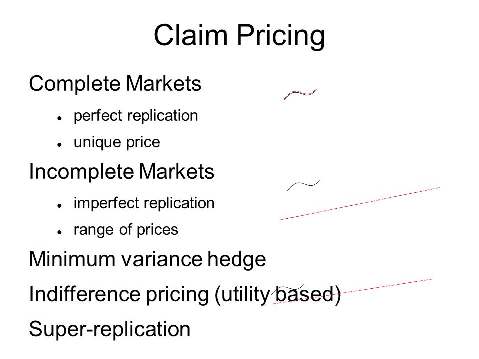 Claim Pricing Complete Markets perfect replication unique price Incomplete Markets imperfect replication range of prices Minimum variance hedge Indifference pricing (utility based) Super-replication