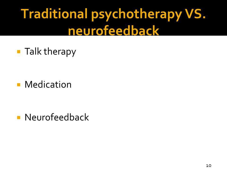 Traditional psychotherapy VS. neurofeedback  Talk therapy  Medication  Neurofeedback 10