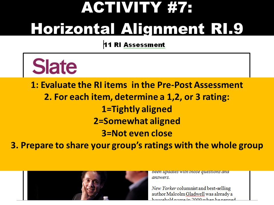 ACTIVITY #7: Horizontal Alignment RI.9 1: Evaluate the RI items in the Pre-Post Assessment 2. For each item, determine a 1,2, or 3 rating: 1=Tightly a