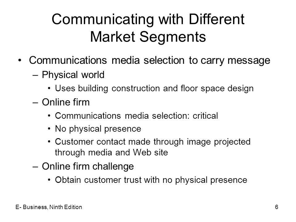Communicating with Different Market Segments Communications media selection to carry message –Physical world Uses building construction and floor spac