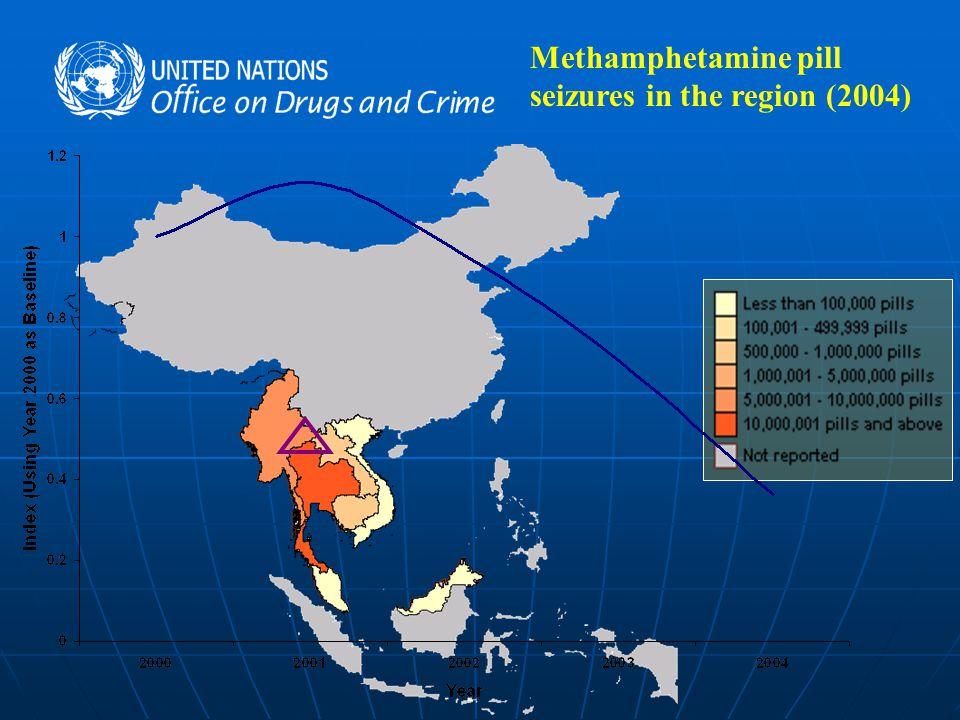 Methamphetamine pill seizures in the region (2004)