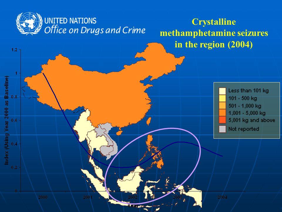 Crystalline methamphetamine seizures in the region (2004)