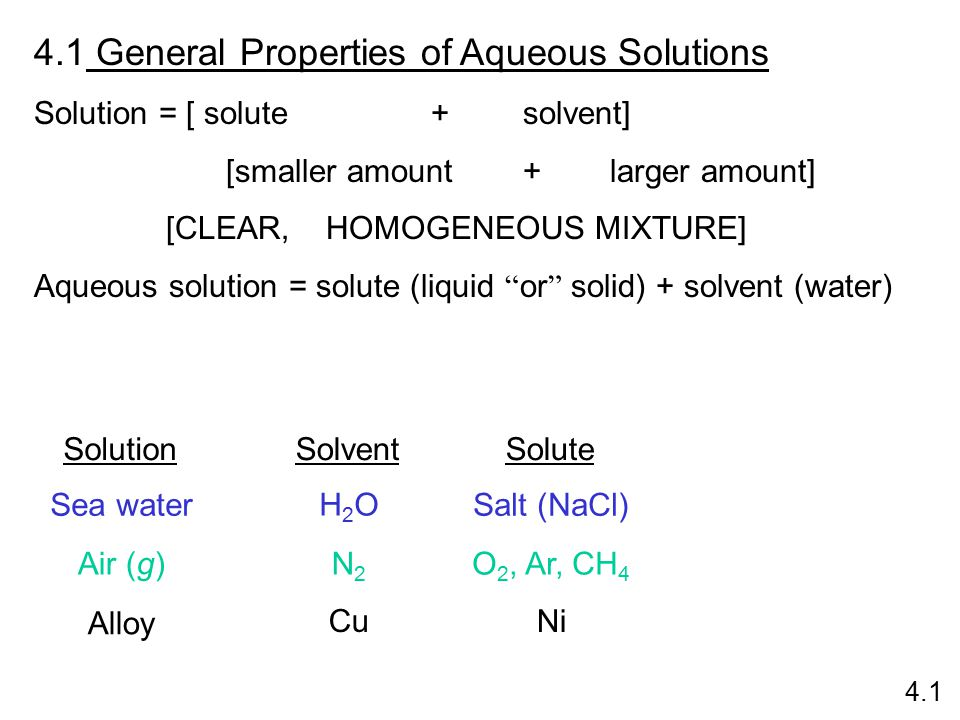 General Properties of Aqueous Solutions Solution = [ solute + solvent] [smaller amount +larger amount] [CLEAR, HOMOGENEOUS MIXTURE] Aqueous solution = solute (liquid or solid) + solvent (water) SolutionSolventSolute Sea water Air (g) Alloy H2OH2O N2N2 Cu Salt (NaCl) O 2, Ar, CH 4 Ni