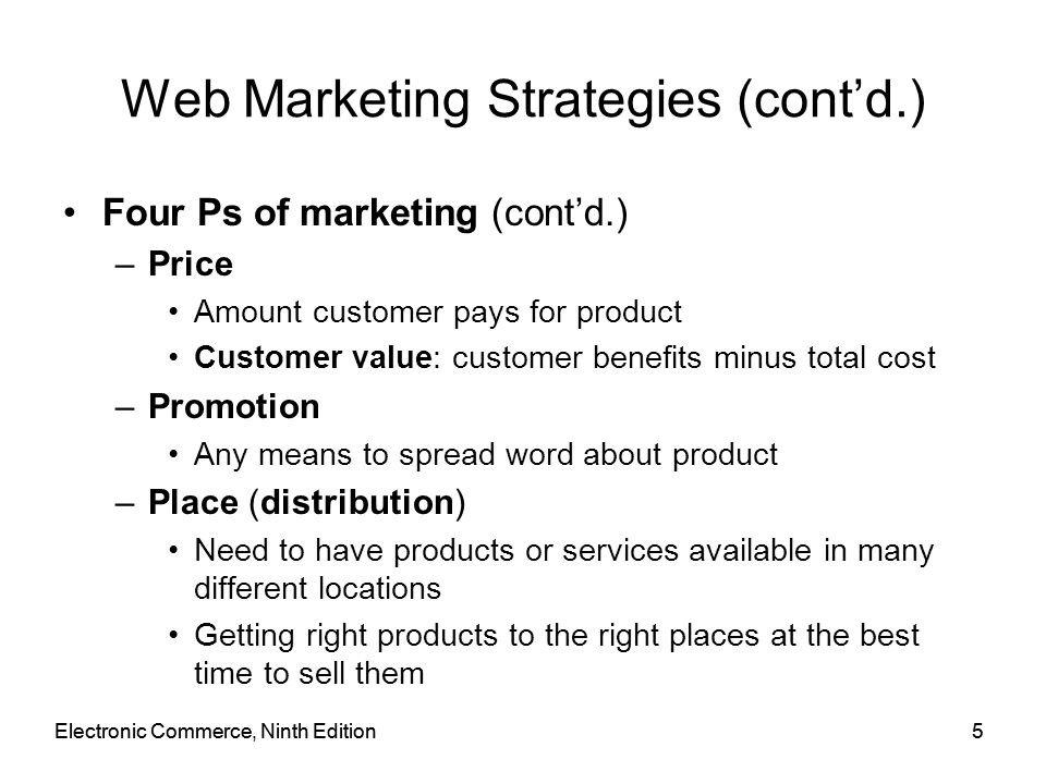 Online Advertising Cost and Effectiveness (cont'd.) Measuring Web audiences (complicated) –Web's interactivity –Value of visitor to an advertiser Depends on information site gathers from visitor Visit –Occurs when visitor requests a page from Web site Trial visit –First time a particular visitor loads Web site page Repeat visits: subsequent page loads Electronic Commerce, Ninth Edition46