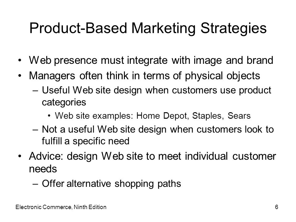 Product-Based Marketing Strategies Web presence must integrate with image and brand Managers often think in terms of physical objects –Useful Web site