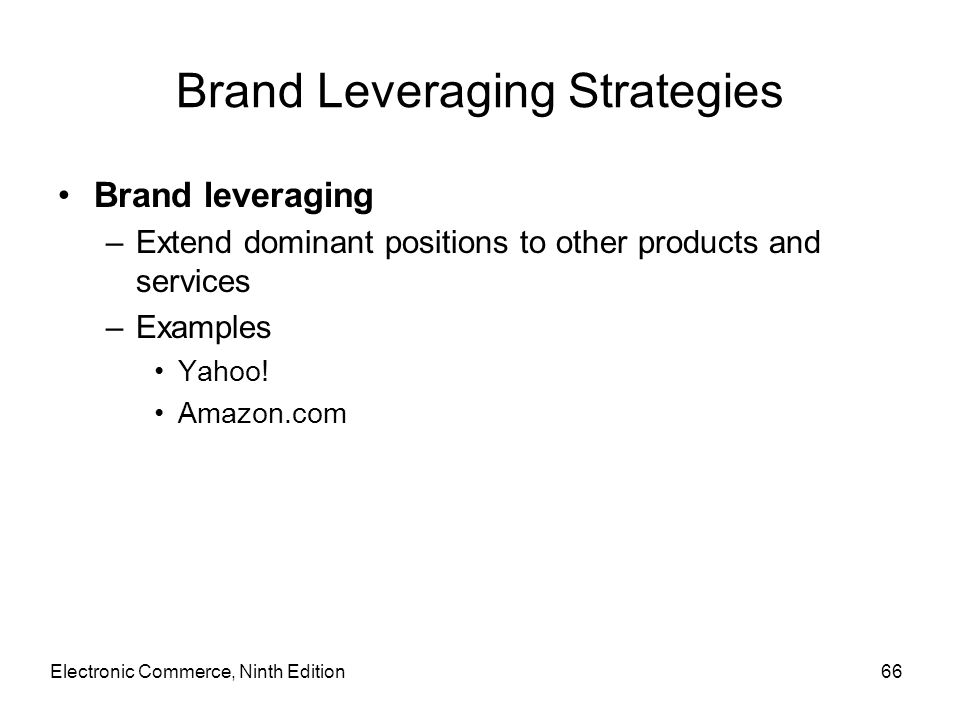 Brand Leveraging Strategies Brand leveraging –Extend dominant positions to other products and services –Examples Yahoo! Amazon.com Electronic Commerce