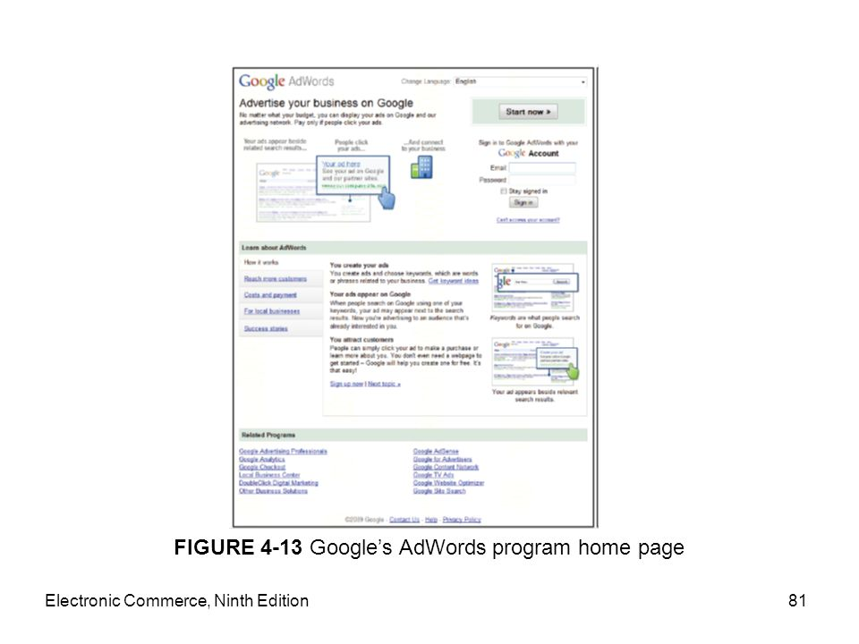 Electronic Commerce, Ninth Edition81 FIGURE 4-13 Google's AdWords program home page