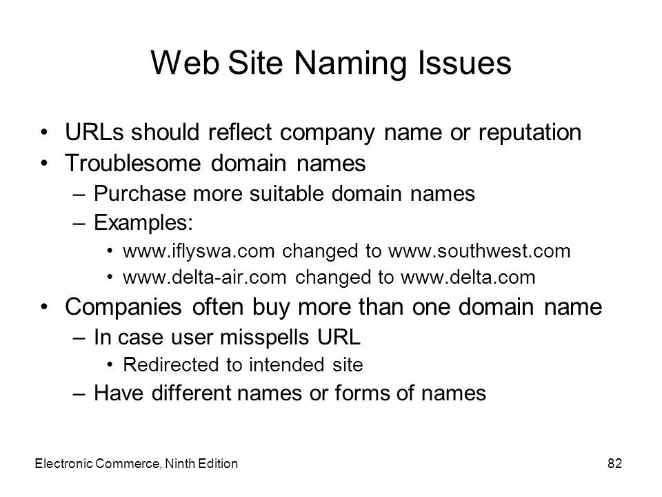 Web Site Naming Issues URLs should reflect company name or reputation Troublesome domain names –Purchase more suitable domain names –Examples: www.ifl