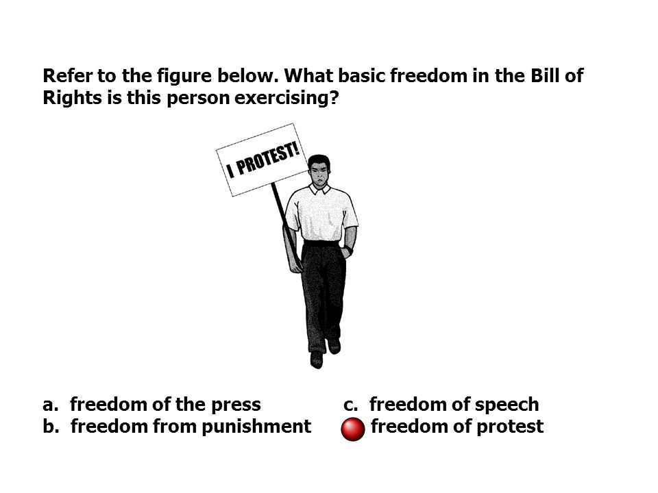 Refer to the figure below. What basic freedom in the Bill of Rights is this person exercising.