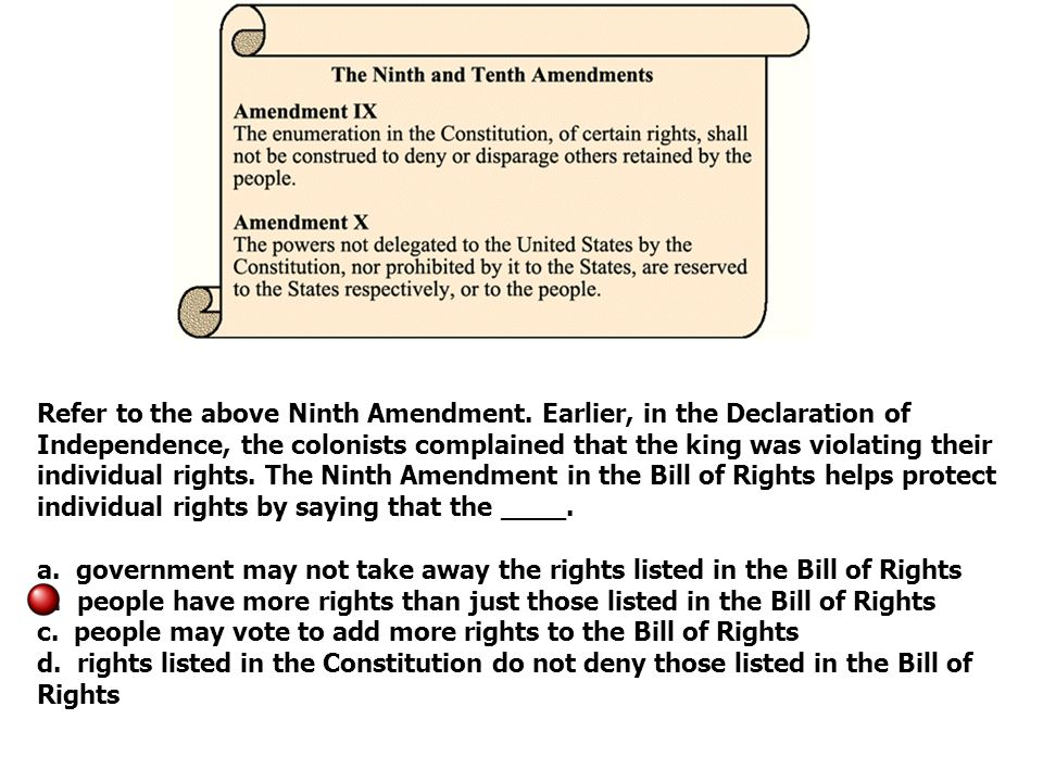 Refer to the above Ninth Amendment.