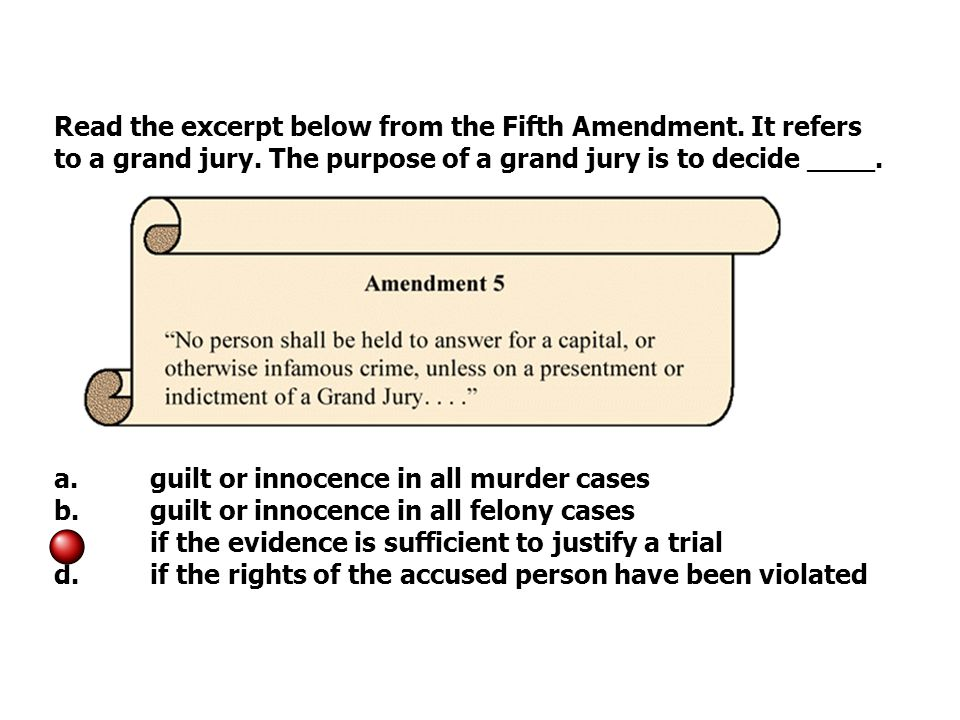 Read the excerpt below from the Fifth Amendment. It refers to a grand jury.