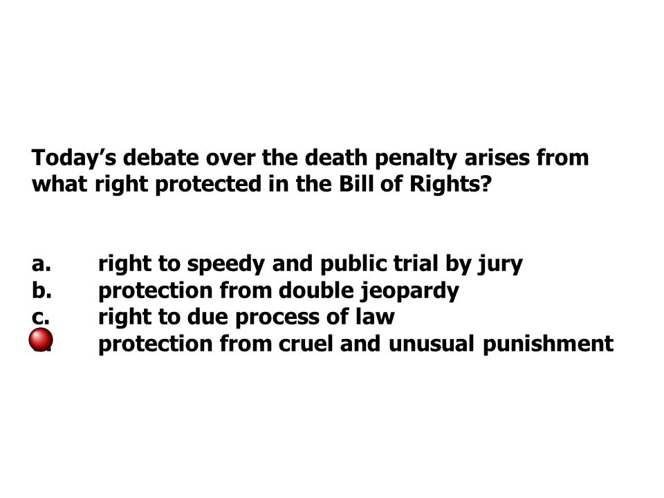 Today's debate over the death penalty arises from what right protected in the Bill of Rights.