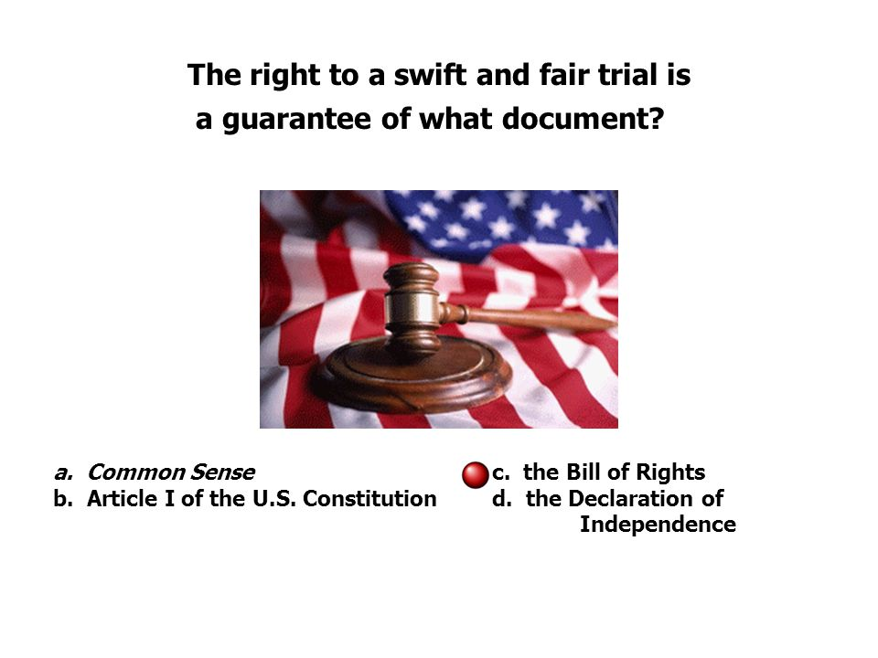The right to a swift and fair trial is a guarantee of what document.