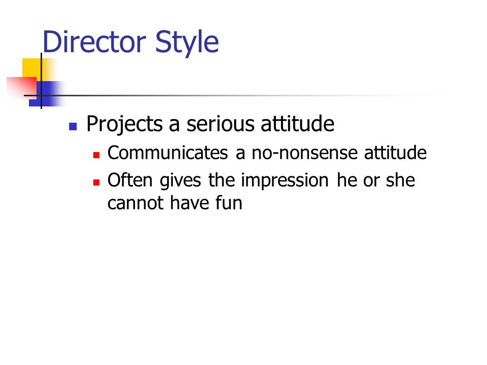 Director Style Projects a serious attitude Communicates a no-nonsense attitude Often gives the impression he or she cannot have fun