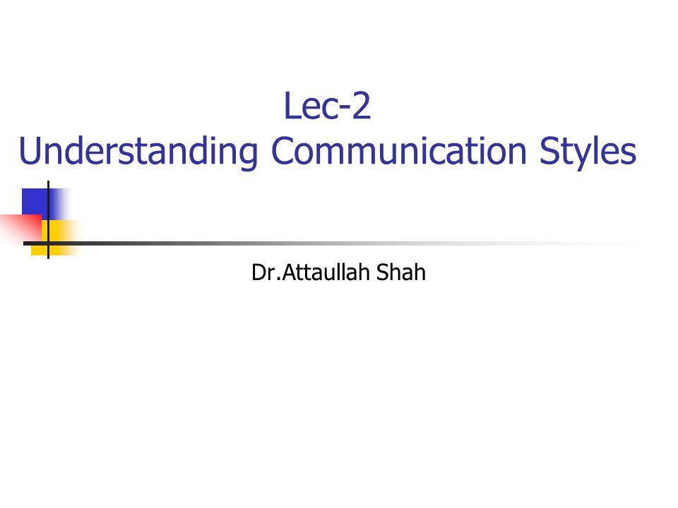 Lec-2 Understanding Communication Styles Dr.Attaullah Shah