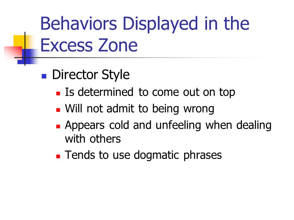 Behaviors Displayed in the Excess Zone Director Style Is determined to come out on top Will not admit to being wrong Appears cold and unfeeling when dealing with others Tends to use dogmatic phrases