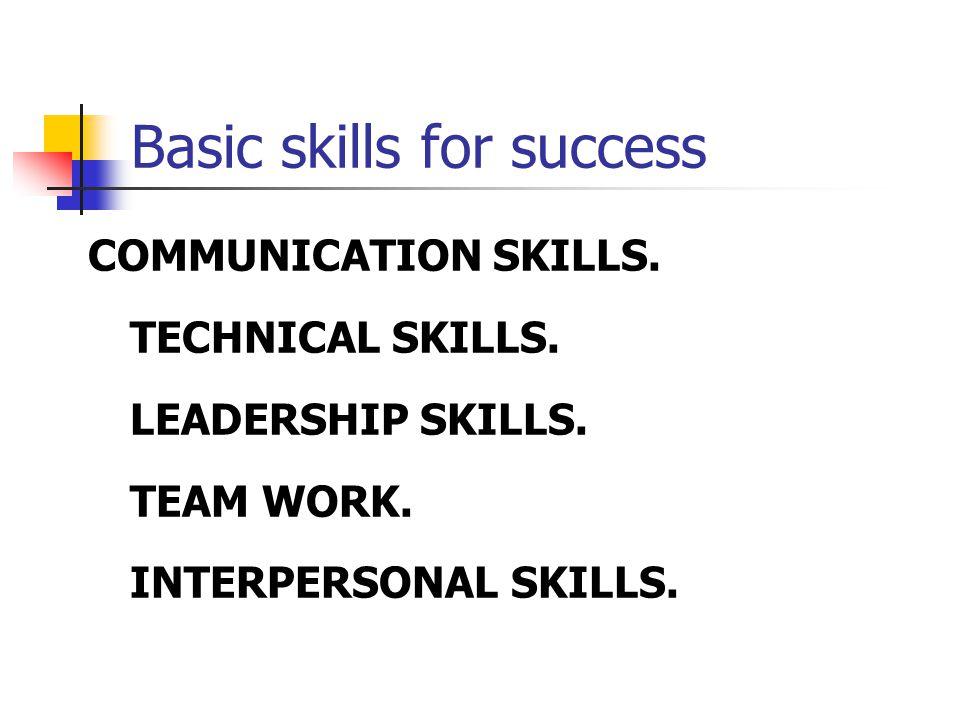 Basic skills for success  COMMUNICATION SKILLS. TECHNICAL SKILLS.