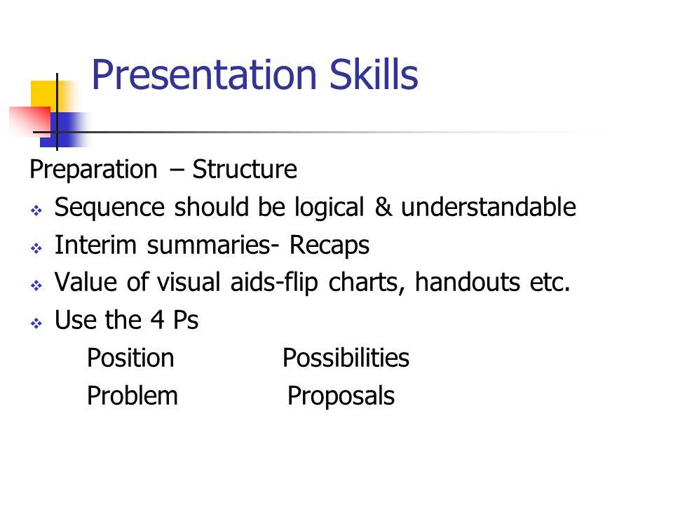 Presentation Skills Preparation – Structure  Sequence should be logical & understandable  Interim summaries- Recaps  Value of visual aids-flip charts, handouts etc.