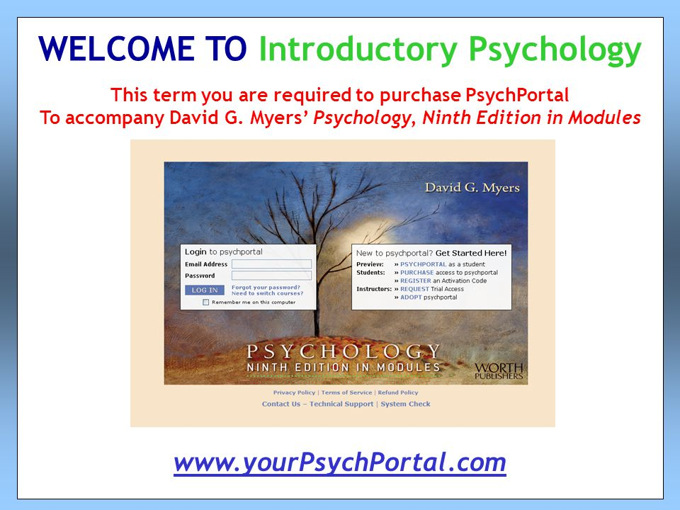 This term you are required to purchase PsychPortal To accompany David G.