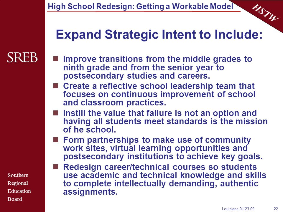 Southern Regional Education Board HSTW High School Redesign: Getting a Workable Model Louisiana 01-23-0922 Expand Strategic Intent to Include: Improve transitions from the middle grades to ninth grade and from the senior year to postsecondary studies and careers.