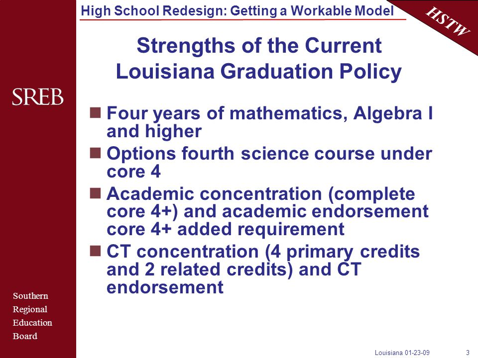 Southern Regional Education Board HSTW High School Redesign: Getting a Workable Model Louisiana 01-23-093 Strengths of the Current Louisiana Graduation Policy Four years of mathematics, Algebra I and higher Options fourth science course under core 4 Academic concentration (complete core 4+) and academic endorsement core 4+ added requirement CT concentration (4 primary credits and 2 related credits) and CT endorsement