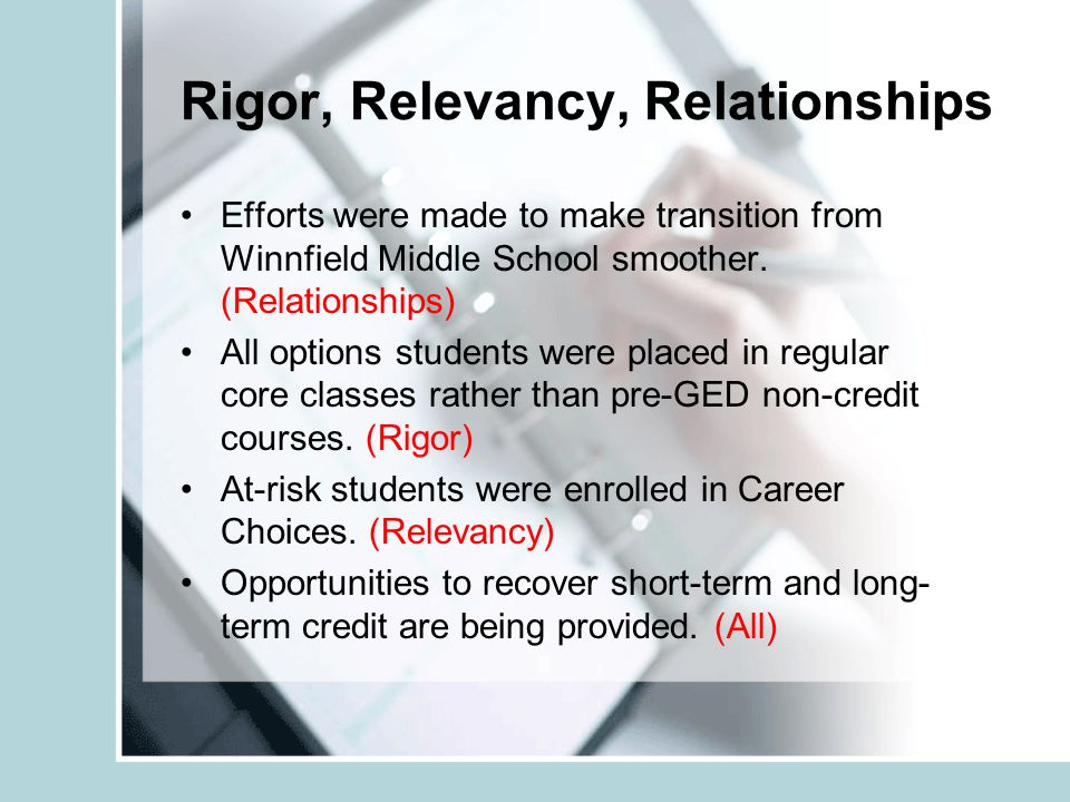 Rigor, Relevancy, Relationships Efforts were made to make transition from Winnfield Middle School smoother.