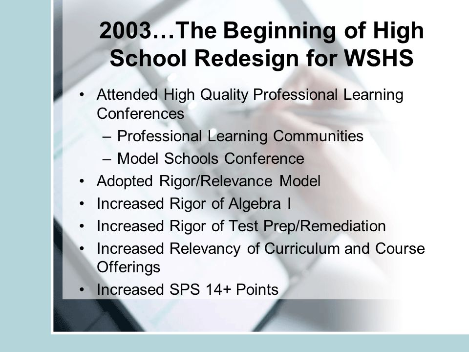 2003…The Beginning of High School Redesign for WSHS Attended High Quality Professional Learning Conferences –Professional Learning Communities –Model Schools Conference Adopted Rigor/Relevance Model Increased Rigor of Algebra I Increased Rigor of Test Prep/Remediation Increased Relevancy of Curriculum and Course Offerings Increased SPS 14+ Points
