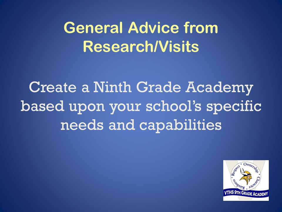 General Advice from Research/Visits Create a Ninth Grade Academy based upon your school's specific needs and capabilities