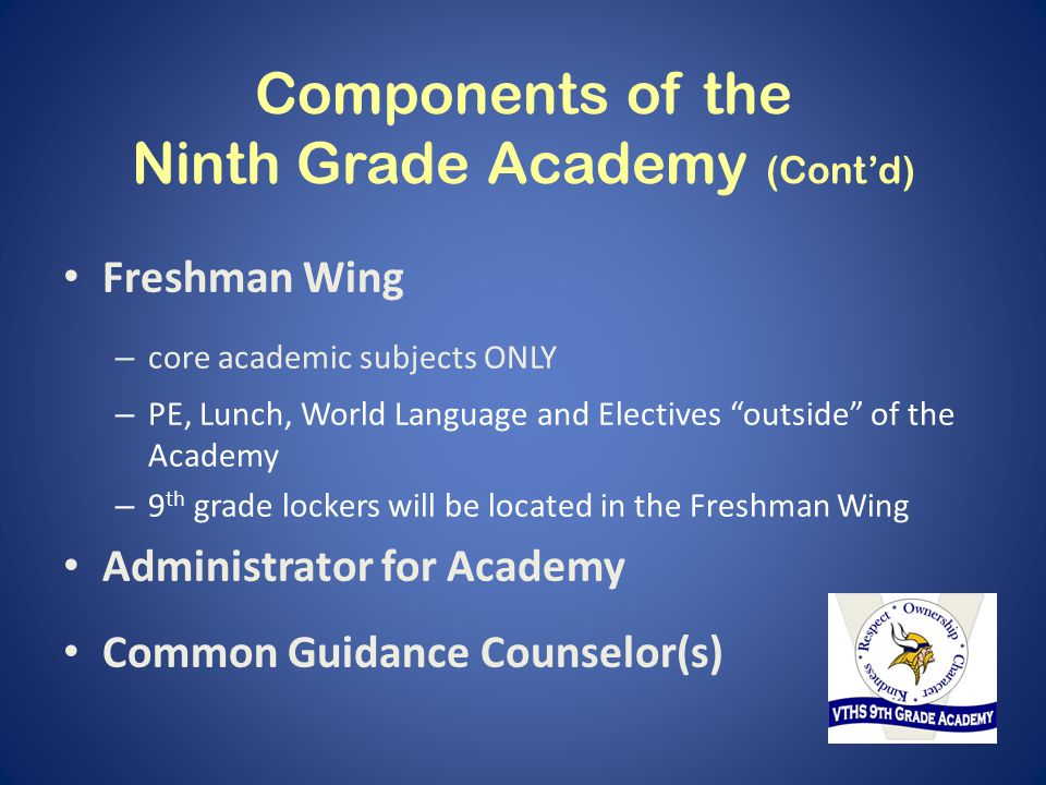 Components of the Ninth Grade Academy (Cont'd) Freshman Wing – core academic subjects ONLY – PE, Lunch, World Language and Electives outside of the Academy – 9 th grade lockers will be located in the Freshman Wing Administrator for Academy Common Guidance Counselor(s)