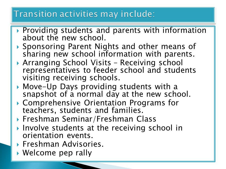  Providing students and parents with information about the new school.
