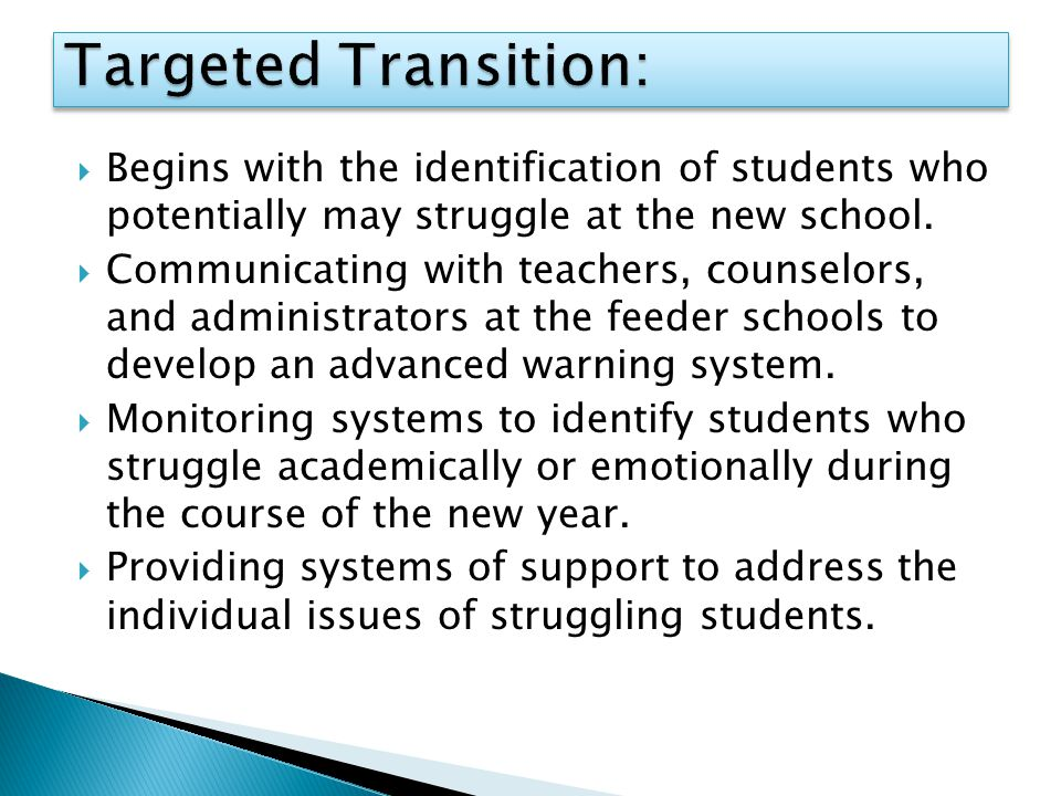  Begins with the identification of students who potentially may struggle at the new school.  Communicating with teachers, counselors, and administra