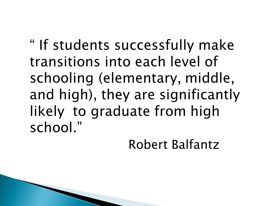 """"""" If students successfully make transitions into each level of schooling (elementary, middle, and high), they are significantly likely to graduate fro"""