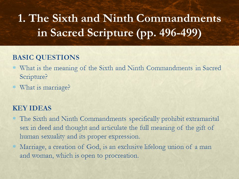 BASIC QUESTIONS  What is the meaning of the Sixth and Ninth Commandments in Sacred Scripture.