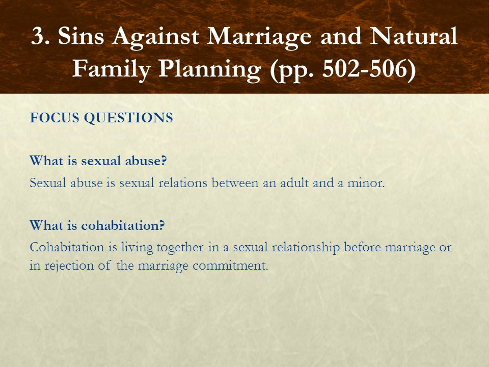 FOCUS QUESTIONS What is sexual abuse.