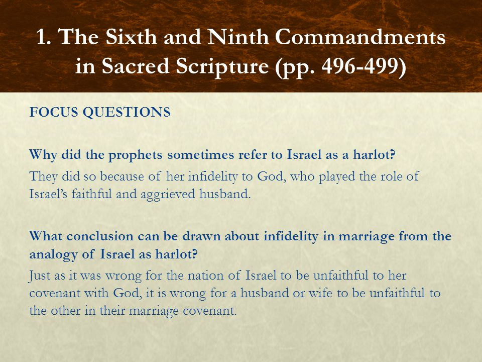 FOCUS QUESTIONS Why did the prophets sometimes refer to Israel as a harlot.