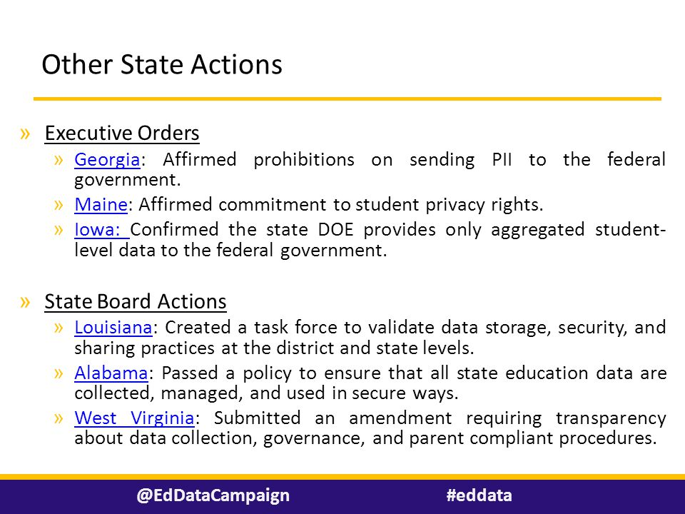 Other State Actions » Executive Orders » Georgia: Affirmed prohibitions on sending PII to the federal government.