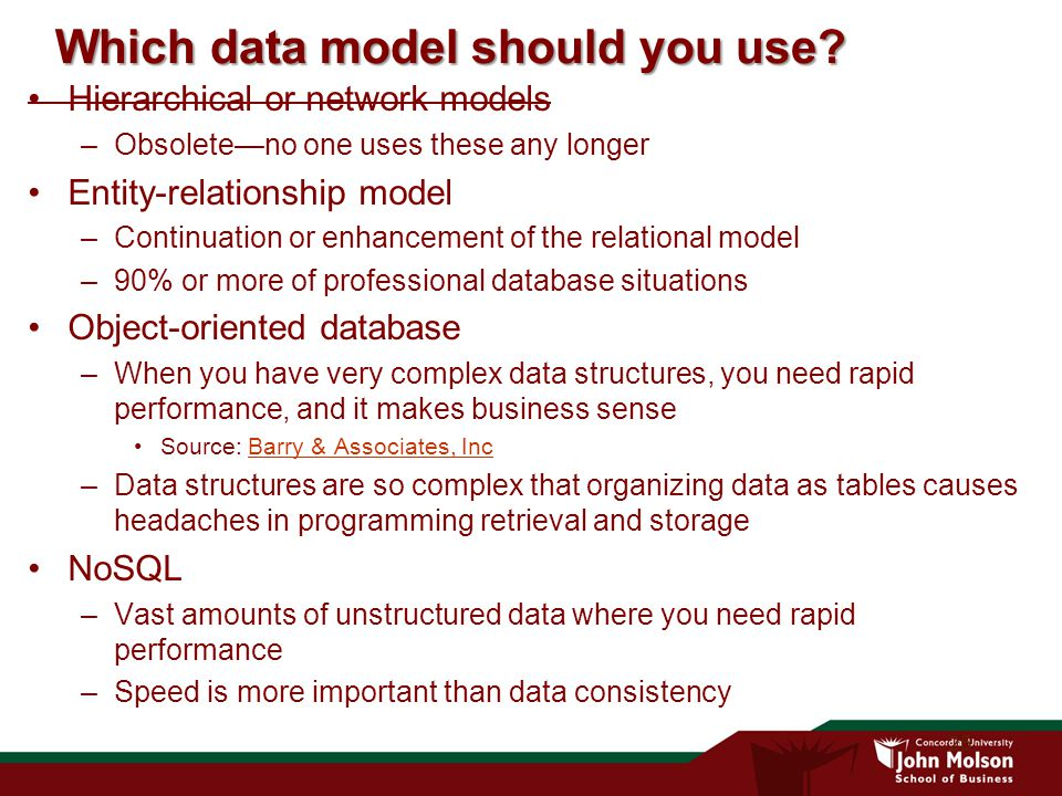 25 Which data model should you use.