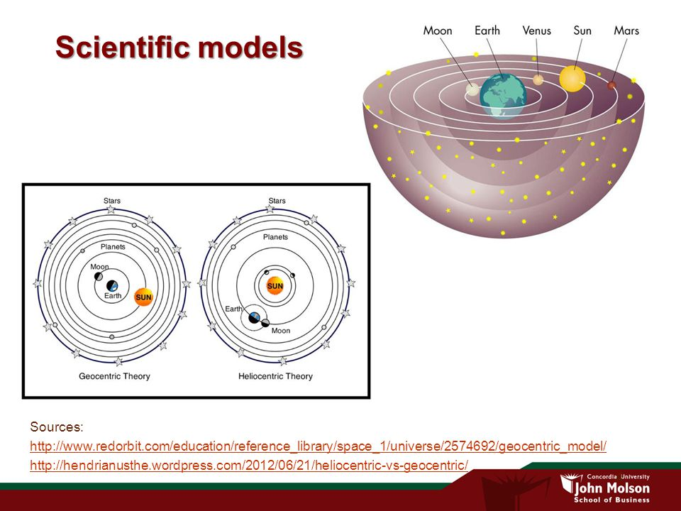 4 Scientific models Sources: http://www.redorbit.com/education/reference_library/space_1/universe/2574692/geocentric_model/ http://hendrianusthe.wordpress.com/2012/06/21/heliocentric-vs-geocentric/