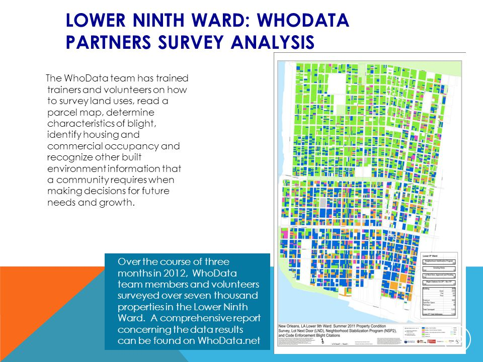 LOWER NINTH WARD: WHODATA PARTNERS SURVEY ANALYSIS The WhoData team has trained trainers and volunteers on how to survey land uses, read a parcel map,