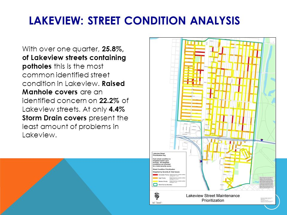 LAKEVIEW: STREET CONDITION ANALYSIS With over one quarter, 25.8%, of Lakeview streets containing potholes this is the most common identified street condition in Lakeview.
