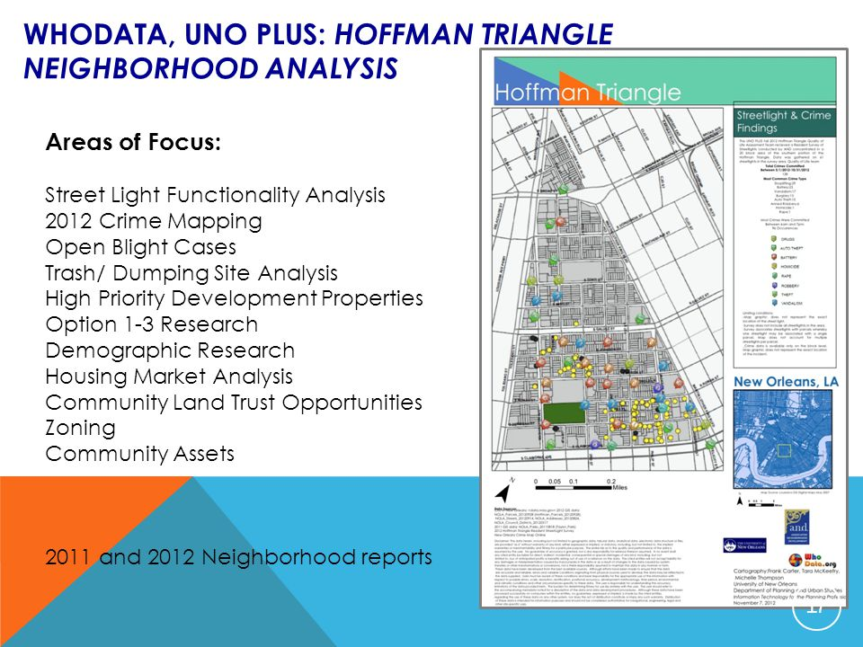 WHODATA, UNO PLUS: HOFFMAN TRIANGLE NEIGHBORHOOD ANALYSIS Areas of Focus: Street Light Functionality Analysis 2012 Crime Mapping Open Blight Cases Tra