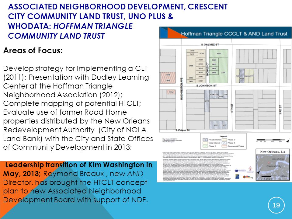 ASSOCIATED NEIGHBORHOOD DEVELOPMENT, CRESCENT CITY COMMUNITY LAND TRUST, UNO PLUS & WHODATA: HOFFMAN TRIANGLE COMMUNITY LAND TRUST Areas of Focus: Dev