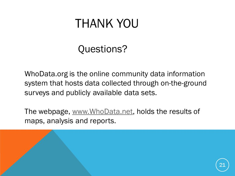 THANK YOU WhoData.org is the online community data information system that hosts data collected through on-the-ground surveys and publicly available d