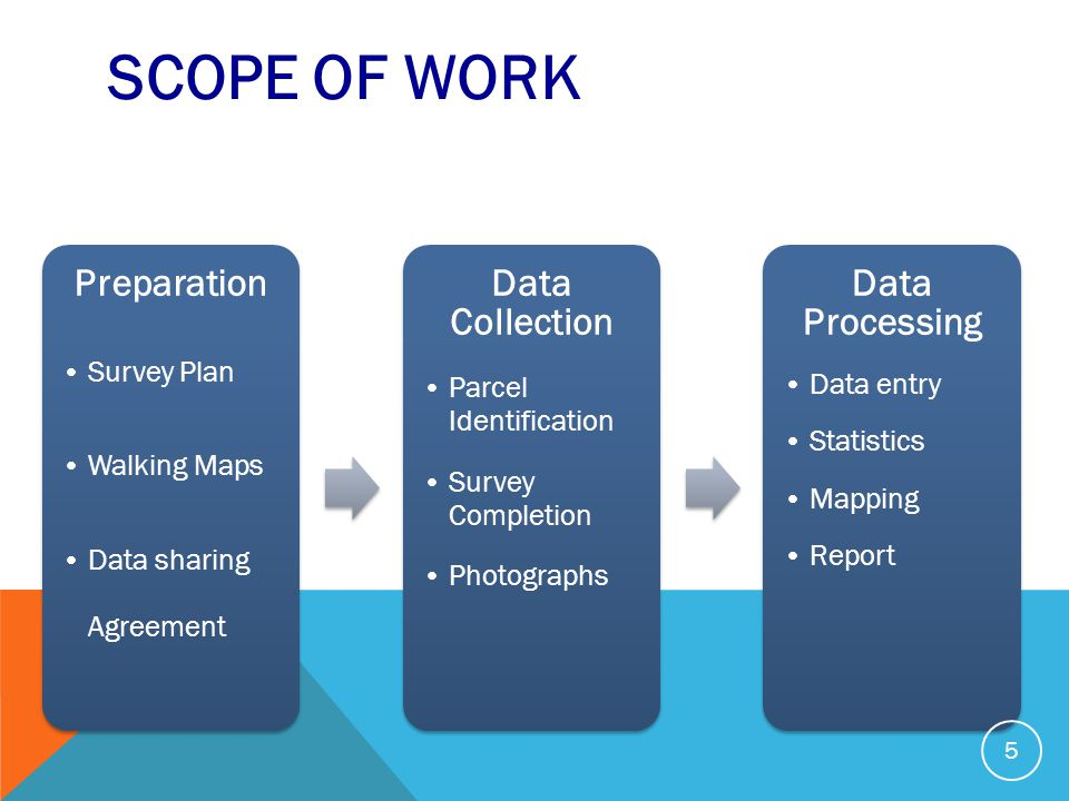 SCOPE OF WORK Preparation Survey Plan Walking Maps Data sharing Agreement Data Collection Parcel Identification Survey Completion Photographs Data Processing Data entry Statistics Mapping Report 5