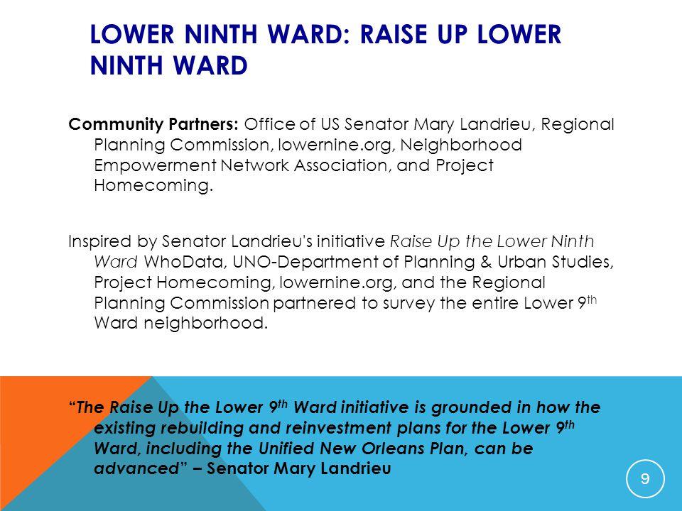 LOWER NINTH WARD: RAISE UP LOWER NINTH WARD Community Partners: Office of US Senator Mary Landrieu, Regional Planning Commission, lowernine.org, Neigh