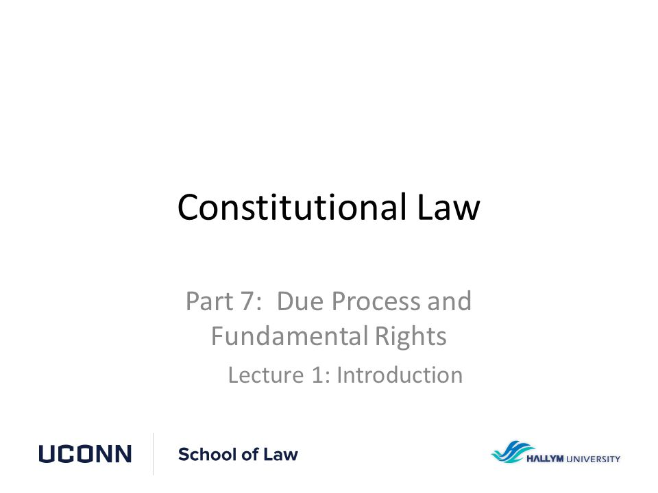 Constitutional Law Part 7: Due Process and Fundamental Rights Lecture 1: Introduction
