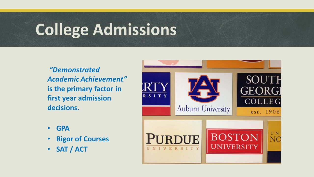College Admissions Demonstrated Academic Achievement is the primary factor in first year admission decisions.