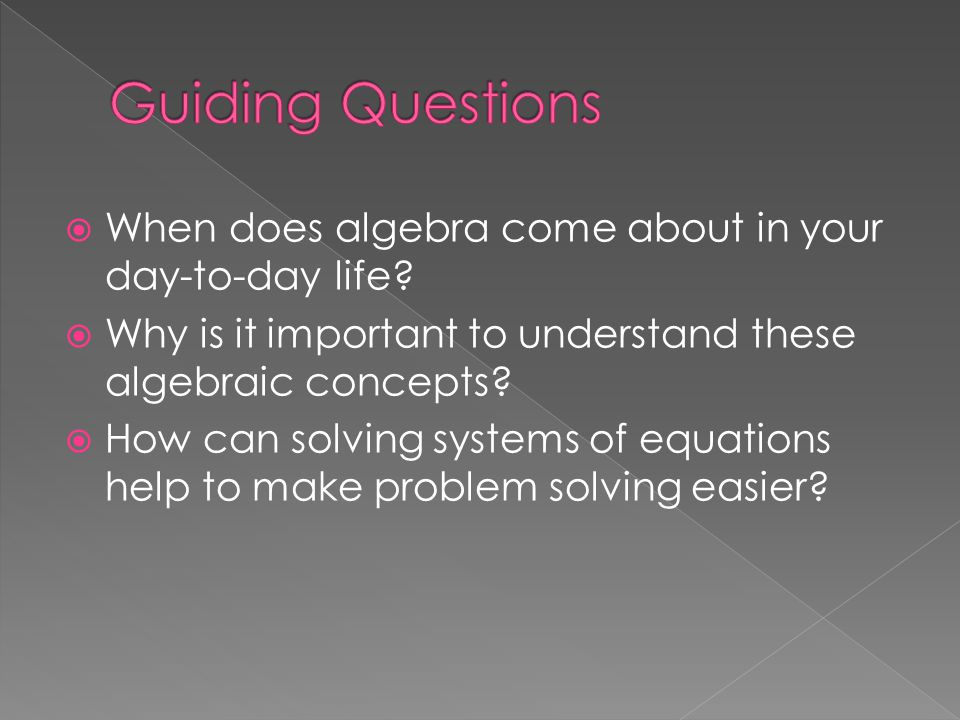  When does algebra come about in your day-to-day life?  Why is it important to understand these algebraic concepts?  How can solving systems of equ