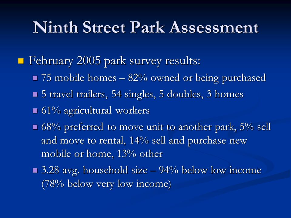 Ninth Street Park Assessment February 2005 park survey results: February 2005 park survey results: 75 mobile homes – 82% owned or being purchased 75 mobile homes – 82% owned or being purchased 5 travel trailers, 54 singles, 5 doubles, 3 homes 5 travel trailers, 54 singles, 5 doubles, 3 homes 61% agricultural workers 61% agricultural workers 68% preferred to move unit to another park, 5% sell and move to rental, 14% sell and purchase new mobile or home, 13% other 68% preferred to move unit to another park, 5% sell and move to rental, 14% sell and purchase new mobile or home, 13% other 3.28 avg.