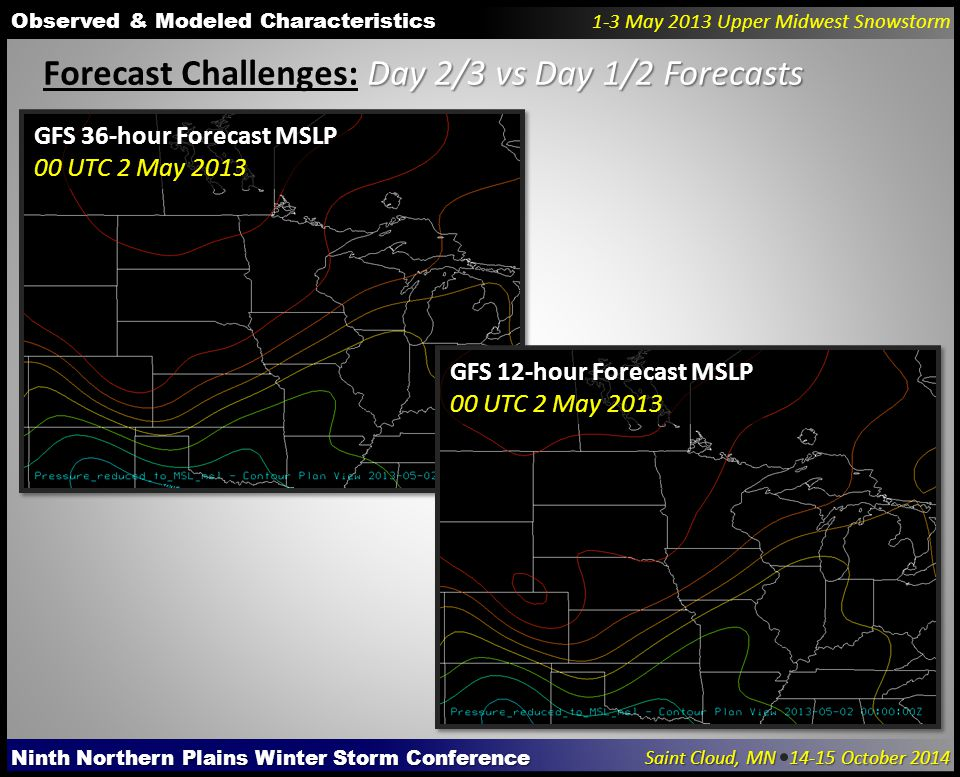 Ninth Northern Plains Winter Storm Conference Saint Cloud, MN 14-15 October 2014 Observed & Modeled Characteristics 1-3 May 2013 Upper Midwest Snowstorm Day 2/3 vs Day 1/2 Forecasts Forecast Challenges: Day 2/3 vs Day 1/2 Forecasts GFS 36-hour Forecast MSLP 00 UTC 2 May 2013 GFS 12-hour Forecast MSLP 00 UTC 2 May 2013
